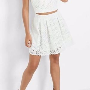 Express Soft Ivory Floral Eyelet Full Mini Skirt